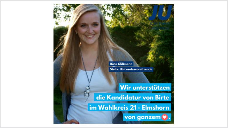 Birte Glißmann kandidiert in Elmshorn für den Landtag JU